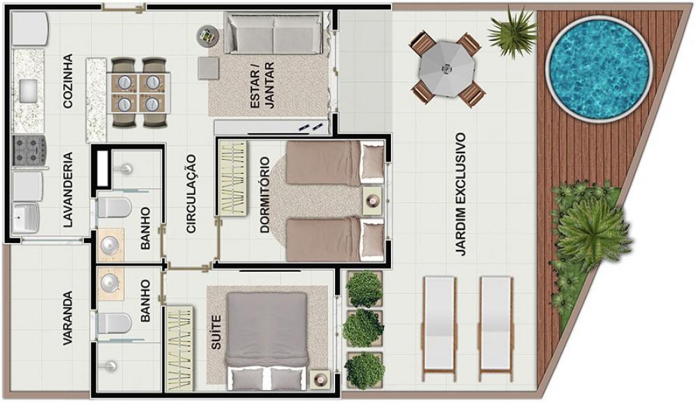 Apartamento Térreo com Jardim Particular