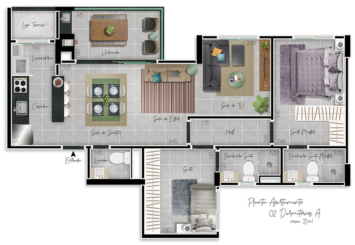 Planta 2 Dormitórios A