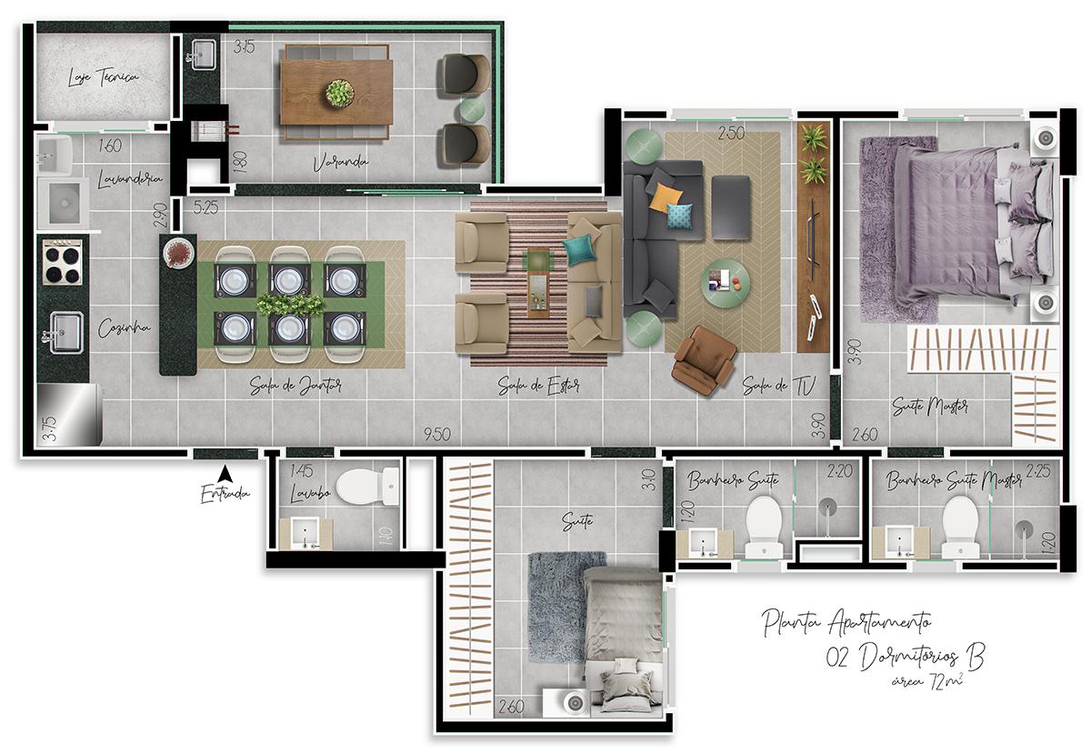 Planta 2 Dormitórios B