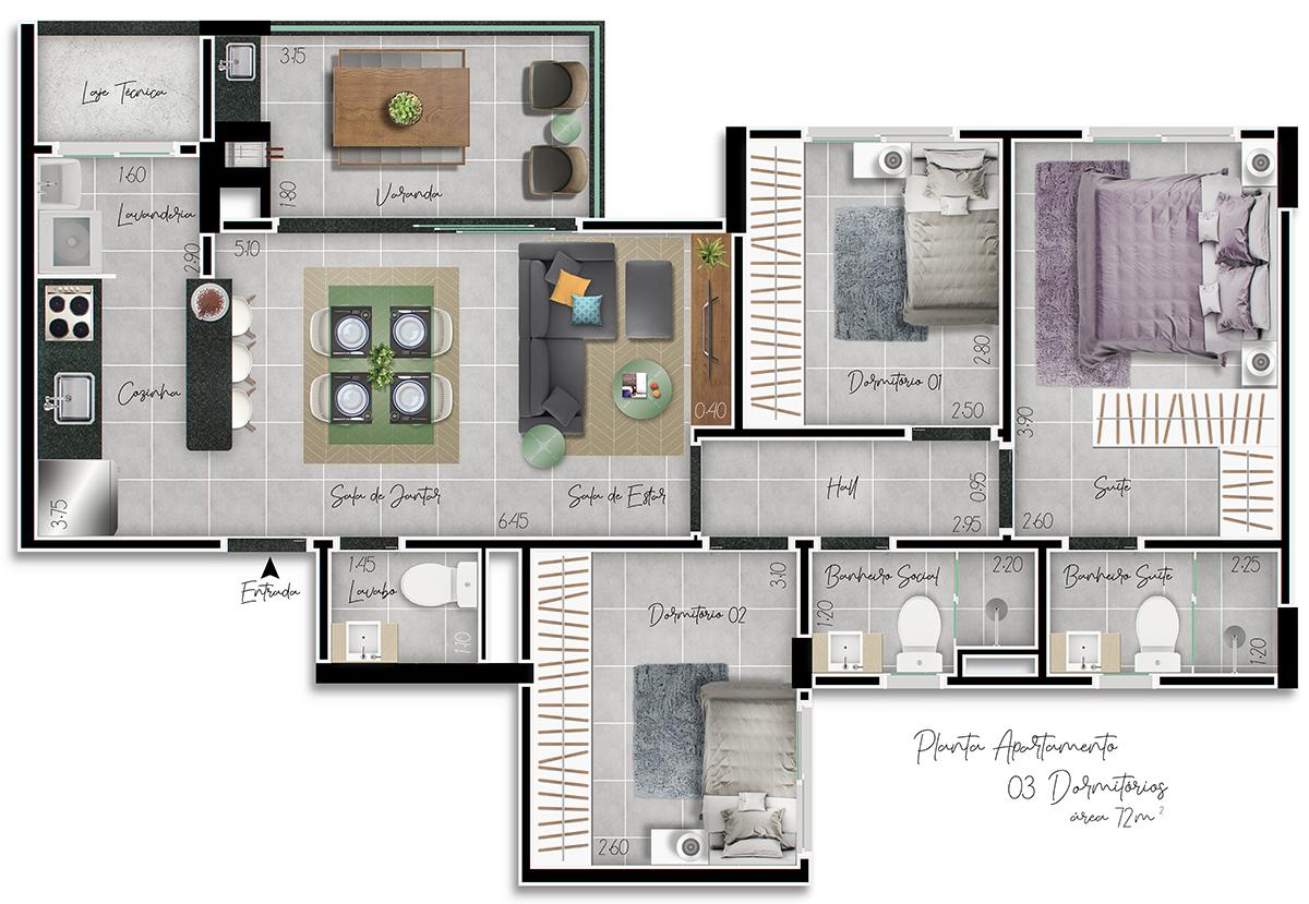 Planta 3 Dormitórios